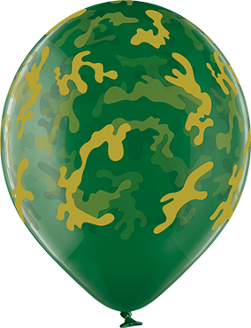 Camouflage Crystal Green (Transparent) Latex Round 12in/30cm