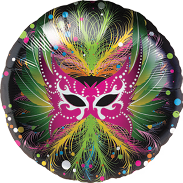 Carnaval Mask Foil Round 18in/45cm