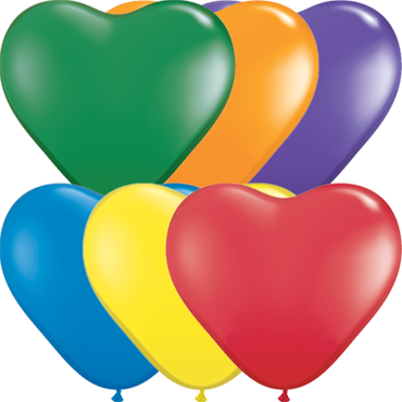 Carnival Assortment Latex Heart 6in/15cm