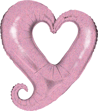 Chain of Hearts Holographic Pastel Pink Foil Shape 14in/36cm