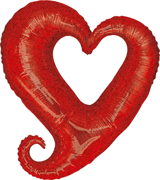 Chain of Hearts Holographic Red Foil Shape 37in/94cm