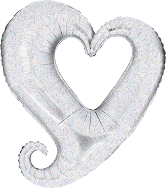 Chain of Hearts Holographic Silver Foil Shape 37in/94cm