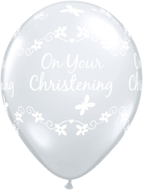 Christening Butterflies Crystal Diamond Clear (Transparent) Latex Round 11in/27.5cm