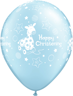 Christening Soft Pony Pearl Light Blue Latex Round 11in/27.5cm