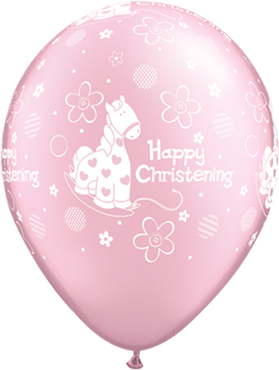 Christening Soft Pony Pearl Pink Latex Round 11in/27.5cm