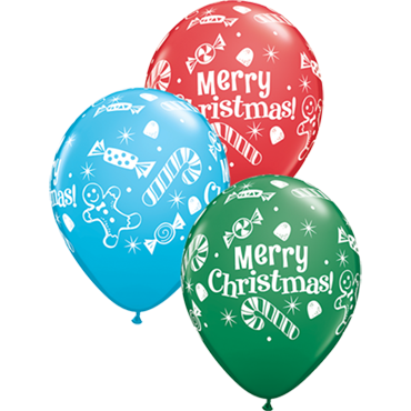 Christmas Candies and Treats Standard Green, Standard Red and Fashion Robins Egg Blue Assortment Latex Round 11in/27.5cm