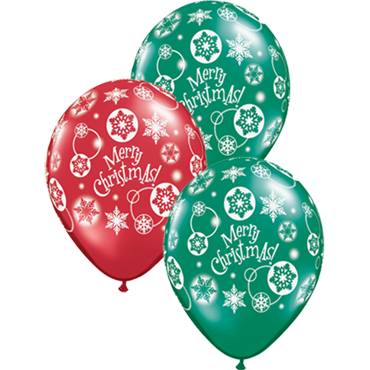 Christmas Snowflakes Crystal Emerald Green (Transparent) and Crystal Ruby Red (Transparent) Latex Round 11in/27.5cm