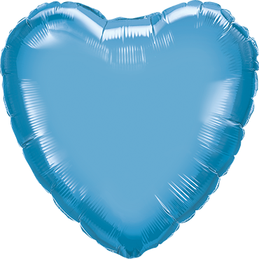 Chrome Blue Foil Heart 18in/45cm