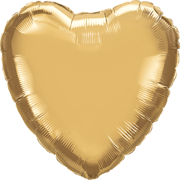 Chrome Gold Foil Heart 18in/45cm