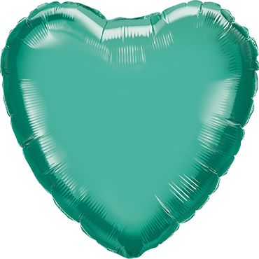 Chrome Green Foil Heart 18in/45cm