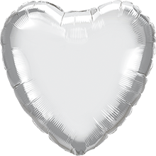 Chrome Silver Foil Heart 18in/45cm