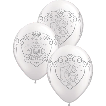 Cinderella and Prince Charming Pearl White Latex Round 11in/27.5cm