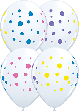 Colourful Dots Standard White Latex Round 11in/27.5cm