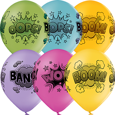Comic Bubbles Pastel Apple Green, Pastel Bright Yellow, Pastel Orange, Pastel Rose, Pastel Lavender and Pastel Sky Blue Assortment Latex Round 12in/30cm