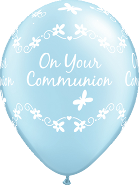 Communion Butterflies Pearl Light Blue Latex Round 11in/27.5cm