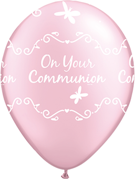 Communion Butterflies Pearl Pink Latex Round 11in/27.5cm
