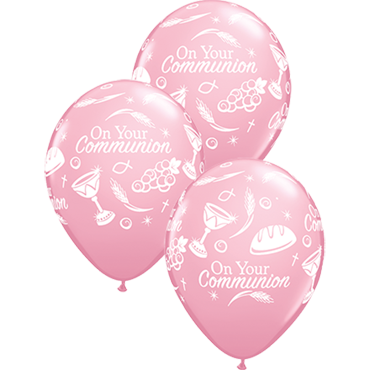 Communion Symbols Standard Pink Latex Round 11in/27.5cm