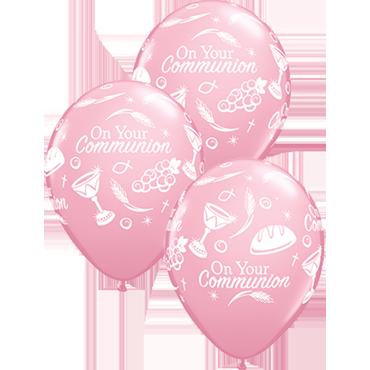 Communion Symbols Standard Pink Latex Round 11in/27.5cm