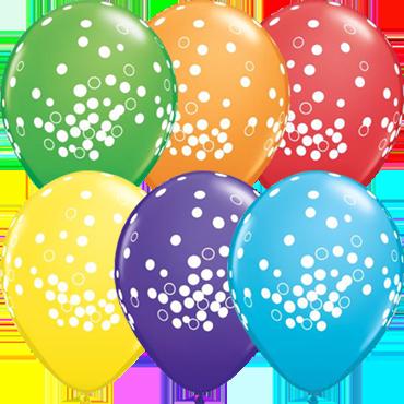 Confetti Dots Bright Rainbow Assortment Latex Round 11in/27.5cm