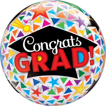 Congrats Grad Caps and Triangles Single Bubble 22in/50cm