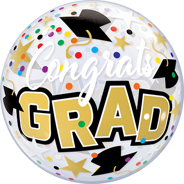 Congrats Grad Stars & Dots Single Bubble 22in/55cm