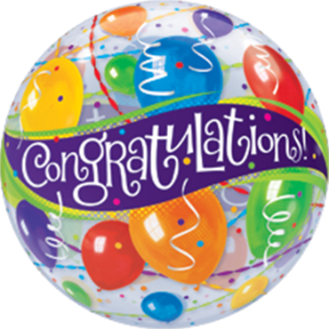 Congratulations Balloons Single Bubble 22in/55cm