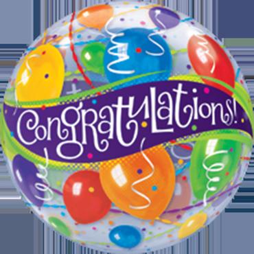 Congratulations Balloons Single Bubble 22in/55cm