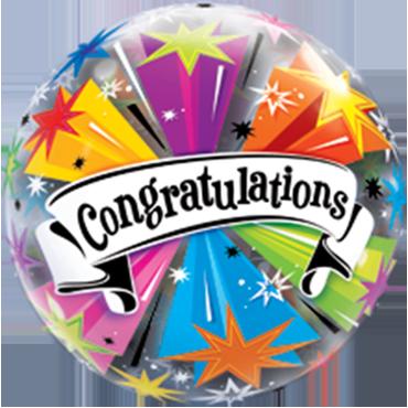 Congratulations Banner Blast Single Bubble 22in/55cm