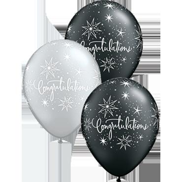 Congratulations Elegant Pearl Onyx Black and Metallic Silver Assortment Latex Round 11in/27.5cm