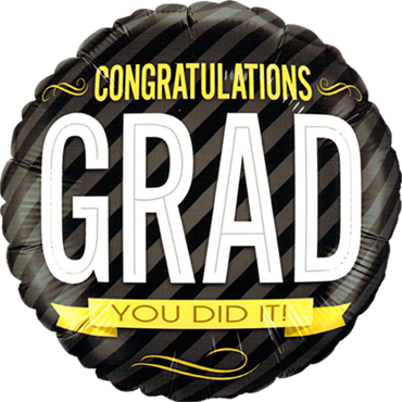 Congratulations Grad Stripes Foil Round 18in/45cm