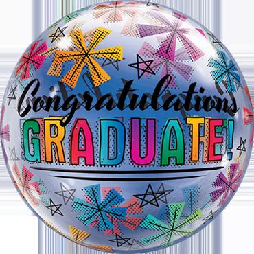 Congratulations Graduate and Stars Single Bubble 22in/50cm