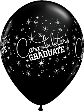 Congratulations Graduate Fashion Onyx Black Latex Round 11in/27.5cm