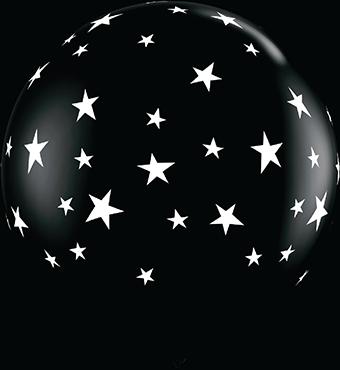 Contempo Stars Fashion Onyx Black Latex Round 36in/90cm