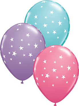 Contempo Stars Fashion Spring Lilac, Fashion Rose and Fashion Caribbean Blue Assortment Latex Round 11in/27.5cm