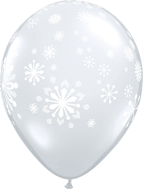 Contemporary Snowflakes Crystal Diamond Clear (Transparent) Latex Round 11in/27.5cm