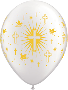 Cross and Doves Pearl White Latex Round 11in/27.5cm