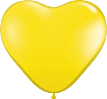 Crystal Citrine Yellow (Transparent) Latex Heart 6in/15cm