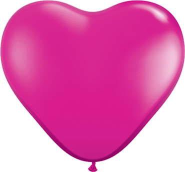 Crystal Magenta (Transparent) Latex Heart 6in/15cm