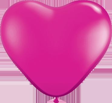 Crystal Magenta (Transparent) Latex Heart 6in/15cm