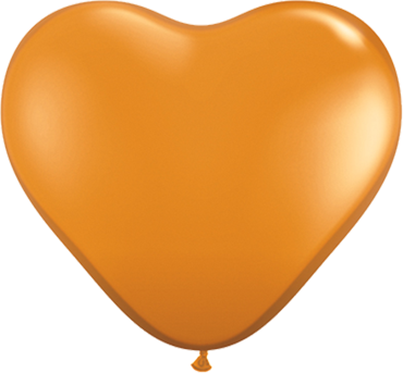 Crystal Mandarin Orange (Transparent) Latex Heart 6in/15cm