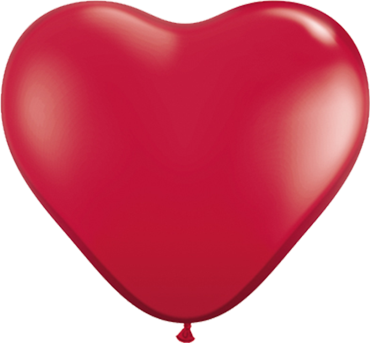 Crystal Ruby Red (Transparent) Latex Heart 11in/27.5cm