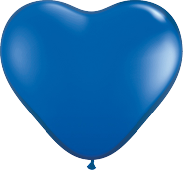 Crystal Sapphire Blue (Transparent) Latex Heart 6in/15cm