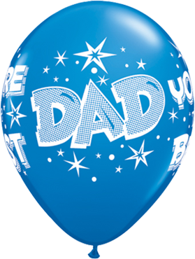 Dad You're The Best Starbursts Standard Dark Blue Latex Round 11in/27.5cm