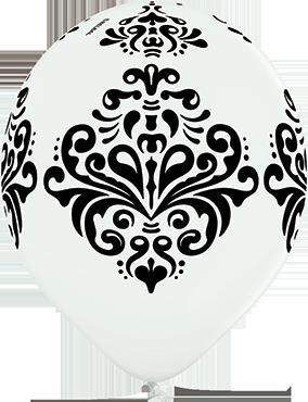 Damask Pastel White Latex Round 12in/30cm