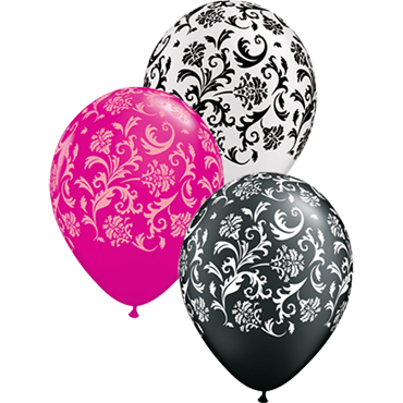 Damask Print Fashion Wild Berry, Fashion Onyx Black and Pearl White Assortment Latex Round 11in/27.5cm