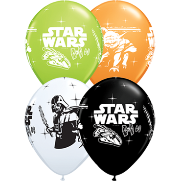 Darth Vader and Yoda Standard Orange, Standard White, Fashion Onyx Black and Fashion Lime Green Assortment Latex Round 11in/27.5cm
