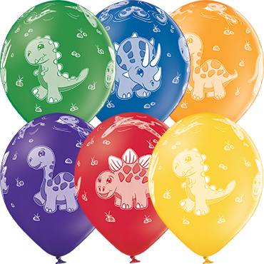 Dinosaurs Pastel Leaf Green, Pastel Bright Yellow, Pastel Orange, Pastel Red, Pastel Royal Lilac and Pastel Royal Blue Assortment Latex Round 12in/30cm