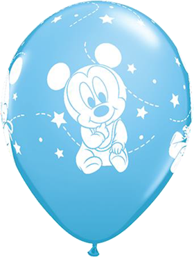 Disney Baby Mickey Stars Standard Pale Blue Latex Round 11in/27.5cm