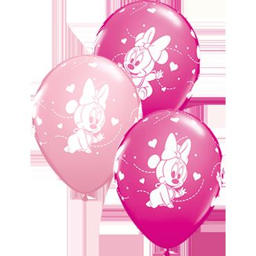 Disney Baby Minnie Stars Standard Pink and Fashion Wild Berry Assortment Latex Round 11in/27.5cm