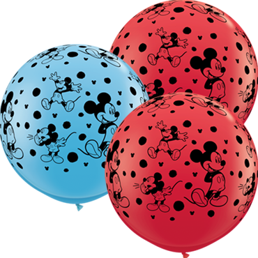 Disney Mickey Mouse Standard Red and Standard Pale Blue Assortment Latex Round 36in/90cm